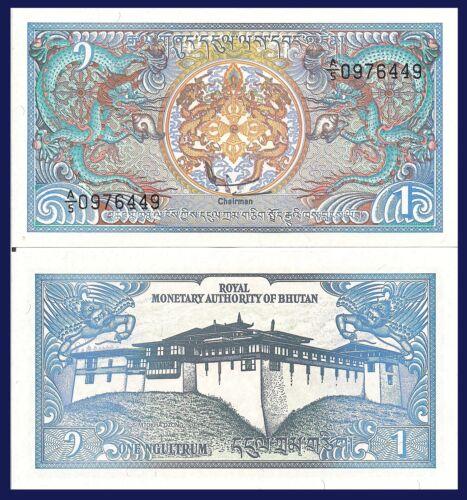 Bhutan P12, 1 Ngultrum, Paro Rinpung Dzong Palace / Dragons! UNC, 1986