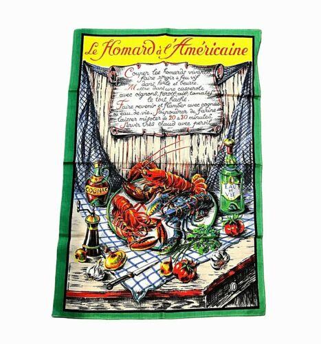"Vintage VONY France Tea Towel Lobsters Americaine Recipe 19""x24"" Colorful Cotton"