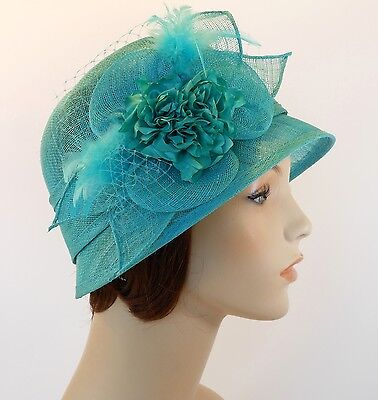 New Woman Church Derby Wedding Sinamay  Ascot Cloche Dress Hat 2471 Turquoise