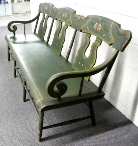 Antique Oak Hunt Green Hand Painted BENCH / SETTEE Roses & Gold Highlights. 6