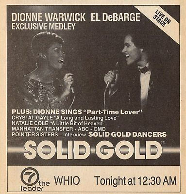 1985 Whio Tv Music Ad El Debarge   Dionne Warwick On Solid Gold