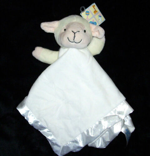NEW Kids of America Cream White Lamb Soft Plush Satin Edge Baby Blanket Lovey