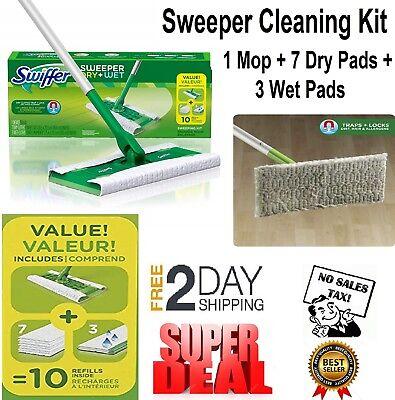 Swiffer Sweeper Cleaner Dry Wet Mop Starter Cleaning Kit Hardwood Floors Mopping