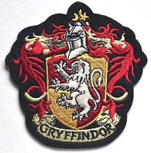 GRYFFINDOR HARRY POTTER HOGWART CREST EMBROIDERED SEW IRON ON SCHOOL BADGE PATCH