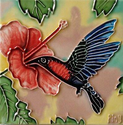 "Hummingbird Art Tile 4""x4"" Decorative Ceramic New Hibiscus Flower Red Pink Green"