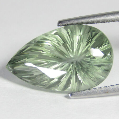 "11.66Cts Hi-Look Natural Green Amethyst prasiolite Pear Carving Cut "" Ref VDO"