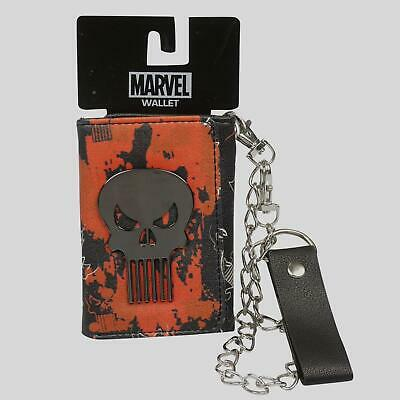 - Marvel Punisher Metal Badge Trifold Chain Wallet