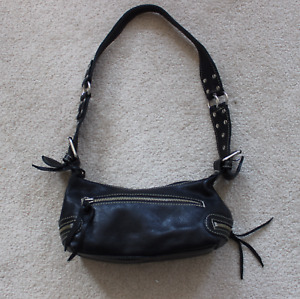 ROOTS CANADA BLACK LEATHER FRINGED PURSE