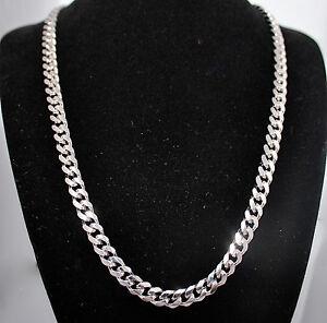 real rhodium platinum layered 7mm curb men chain necklace