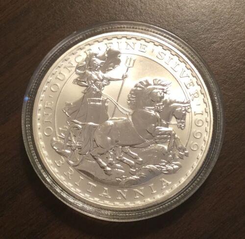1999 Silver Britannia 1 Oz BU Coin in Capsule Great Britain Low Mintage RARE