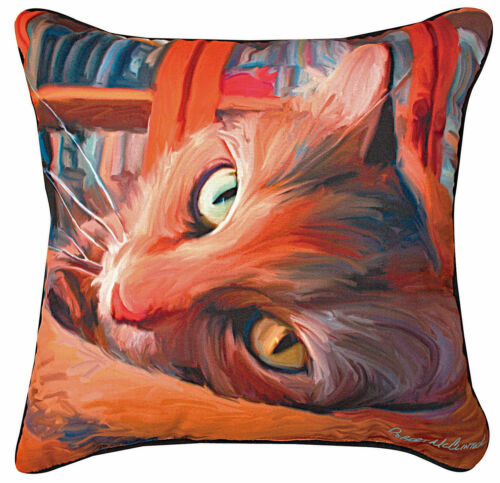 "PILLOWS  - ""CAT IN THE LIBRARY"" THROW PILLOW - 18"" SQUARE"
