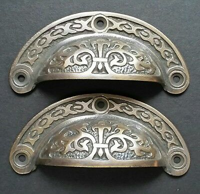 """2 antique Victorian style vintage brass apothecary bin pull handles 3 7/16"""" #A5"""
