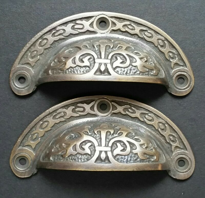 "2 Antique vtg. Style Victorian Brass Apothecary Bin Pulls Handles 3-7/16""w.  #A5"