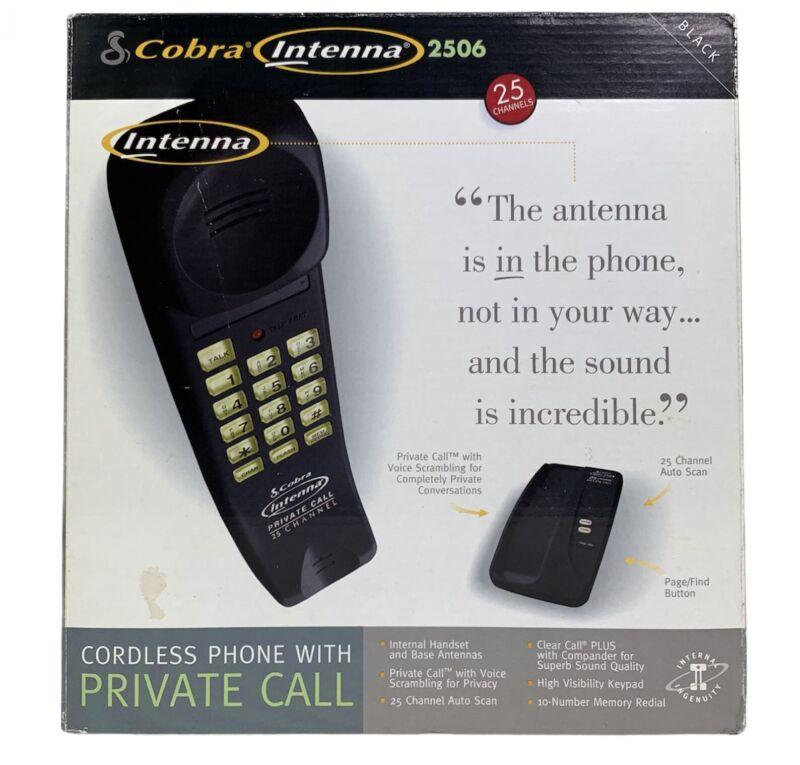 Vintage Cobra Phone Black Cordless Telephone Maximum Extended Range 25 Ch NEW