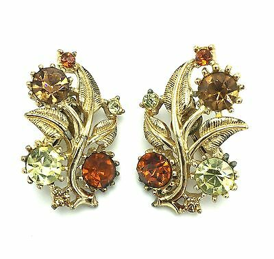 Vintage CORO Signed Gold-Tone Metal and Rhinestone Flower/Floral Earrings