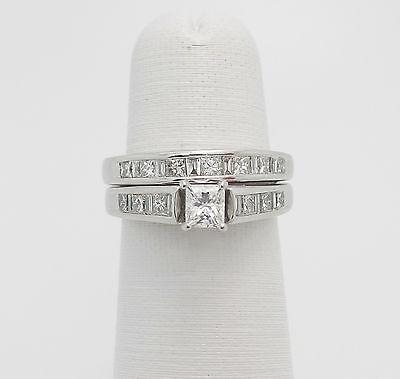 Zales 1.25CT Princess & Baguette Diamond Engagement Wedding Ring Set 14K Gold