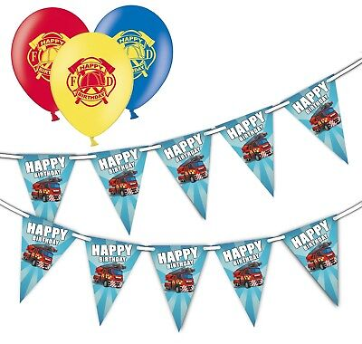 Happy Birthday Fire Truck Bunting 15 flags & Pack of 20  Printed Asst Balloons (Happy Birthday Truck)