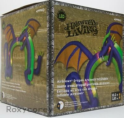 Gemmy Halloween Haunted Living 10.2 ft Lighted Dragon Achway Airblown Inflatable