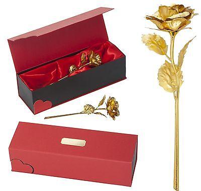 Goldene Vergoldete Gold Rose in Samt Box mit GRAVUR Geburtstag Valentinstag