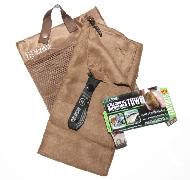 McNett Tactical Ultra Compact Microfiber Towel with Bag, Coyote Brown