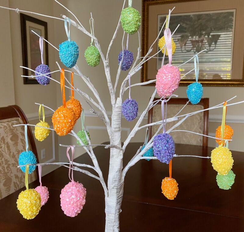 Easter Egg Mini Ornaments Tree Vibrant Bunny Rabbit Home Spring Decor 12PCS NEW