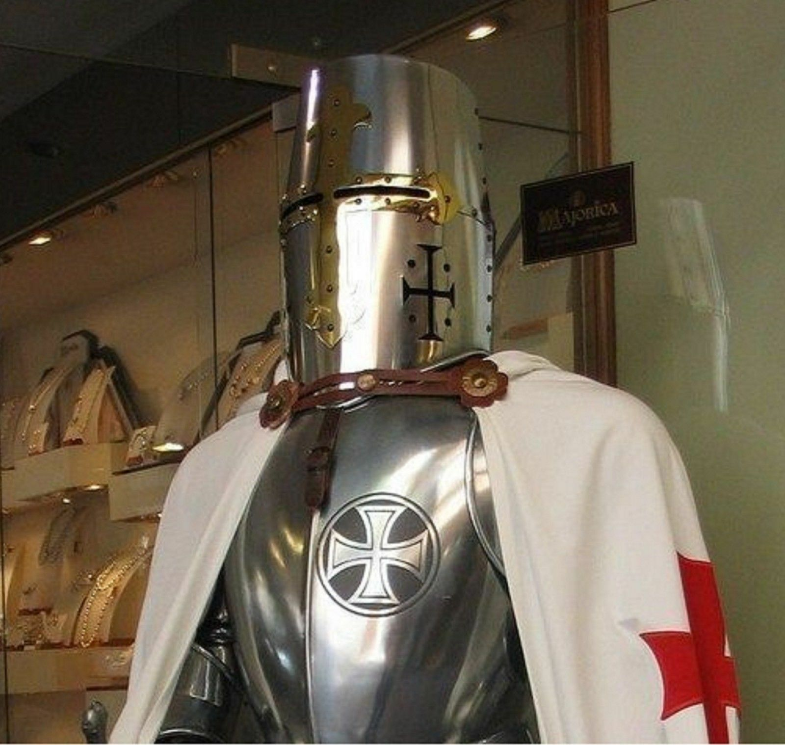 War Templar Medieval Knight Suit Of Armour Stand Sword Armor Combat Full Body