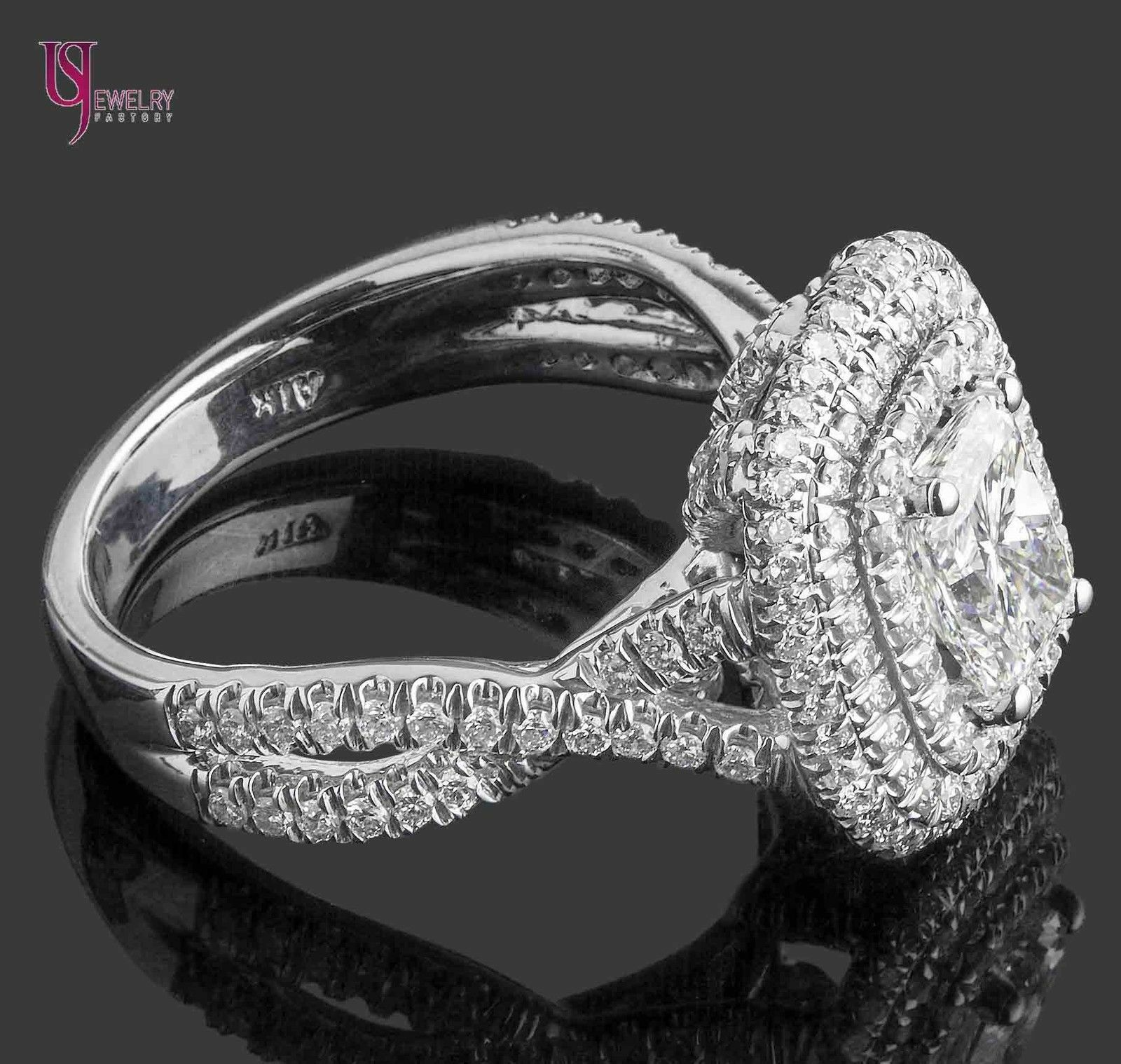GIA Certified 2.18Ct F-SI1 Radiant Cut Diamond Engagement Infinity Ring 18k Gold 10