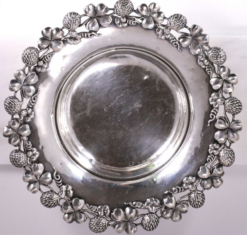 Antique Baily Banks &Biddle Sterling Aesthetic Applied Clover Wine Coaster