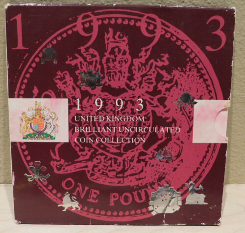 1993 United Kingdom Brilliant Uncirculated Coin Collection Display Sleeve 8 Coin