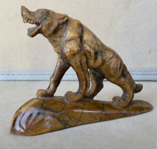 Tiger Eye Wolf Carving  4 1/4""