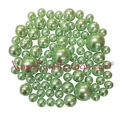 80 All Mint Green Pearls-Jumbo/Assorted Sizes for Vase - Mint Green Wedding Decorations