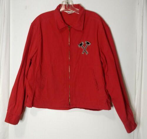 Vtg 60s 70s BSOA Boy Scouts Of America Red Cotton Zip Up Windbreaker Jacket L