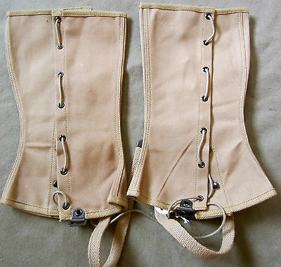 WWI US ARMY WOOL INFANTRY M1917 KHAKI COMBAT FiELD LEGGINGS- Size Large