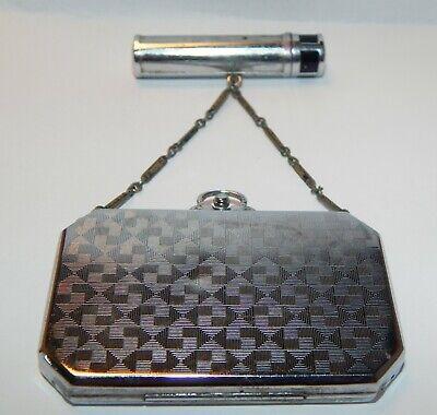 1920s Style Purses, Flapper Bags, Handbags c. 1920s ornate Antique Art Deco Dance Compact Purse with rare lipstick case  $54.50 AT vintagedancer.com