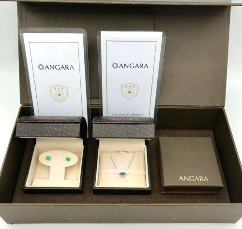 ANGARA Emerald Earrings & Necklace Set w/ Lighted Boxes & COA