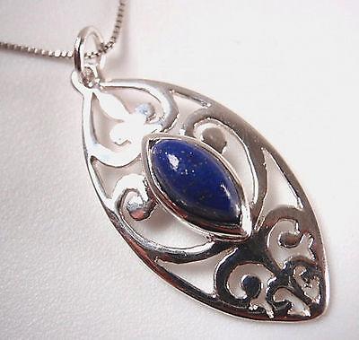 Lapis Marquise Filigree 925 Sterling Silver Pendant Corona Sun Jewelry ()
