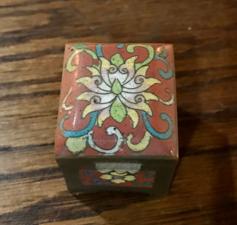 Small Chinese Cloisonné Enamel Millefluer Stamp Box