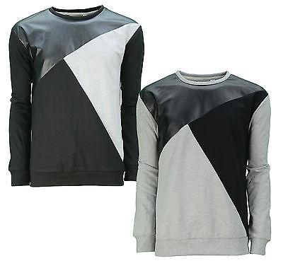 Schwarze Fleece-sweatshirt (Soul Star Rundhals Contrast Herren Fleece Sweatshirt Top Trendy Schwarz Grau)