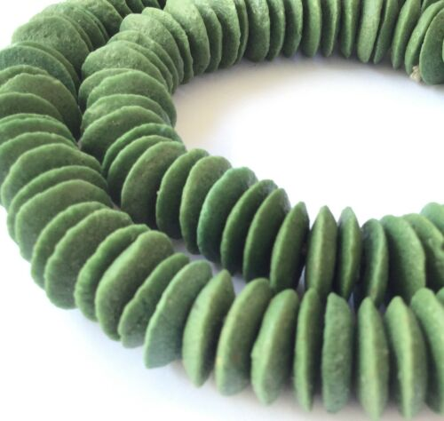Ghana Authentic Recycled Glass Opaque Dk Green Disk African trade beads