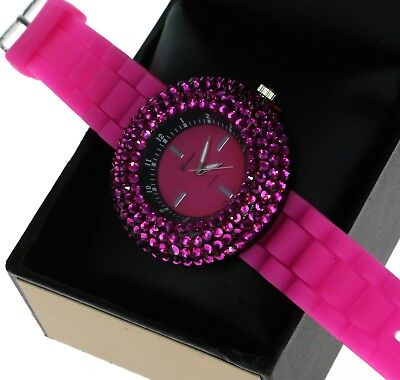 Cute Ladies 4 Rows Iced Out Crystal Bezel Quartz Watch With Pink Silicone Band