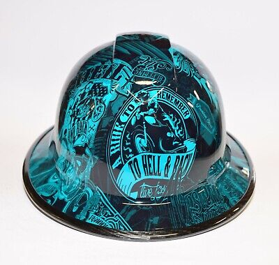 Custom Wide Brim Hard Hat Hydro Dipped In Candy Teal Renegade Biker Wcarbon Edge