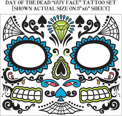 Day Of The Dead Mens Costume Facial Tattoos Halloween Accessory Adult Make-up