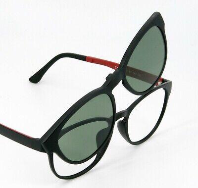 Gleitsichtbrille Pantobrille mit  Magnet Sonnenclip in schwarz matt