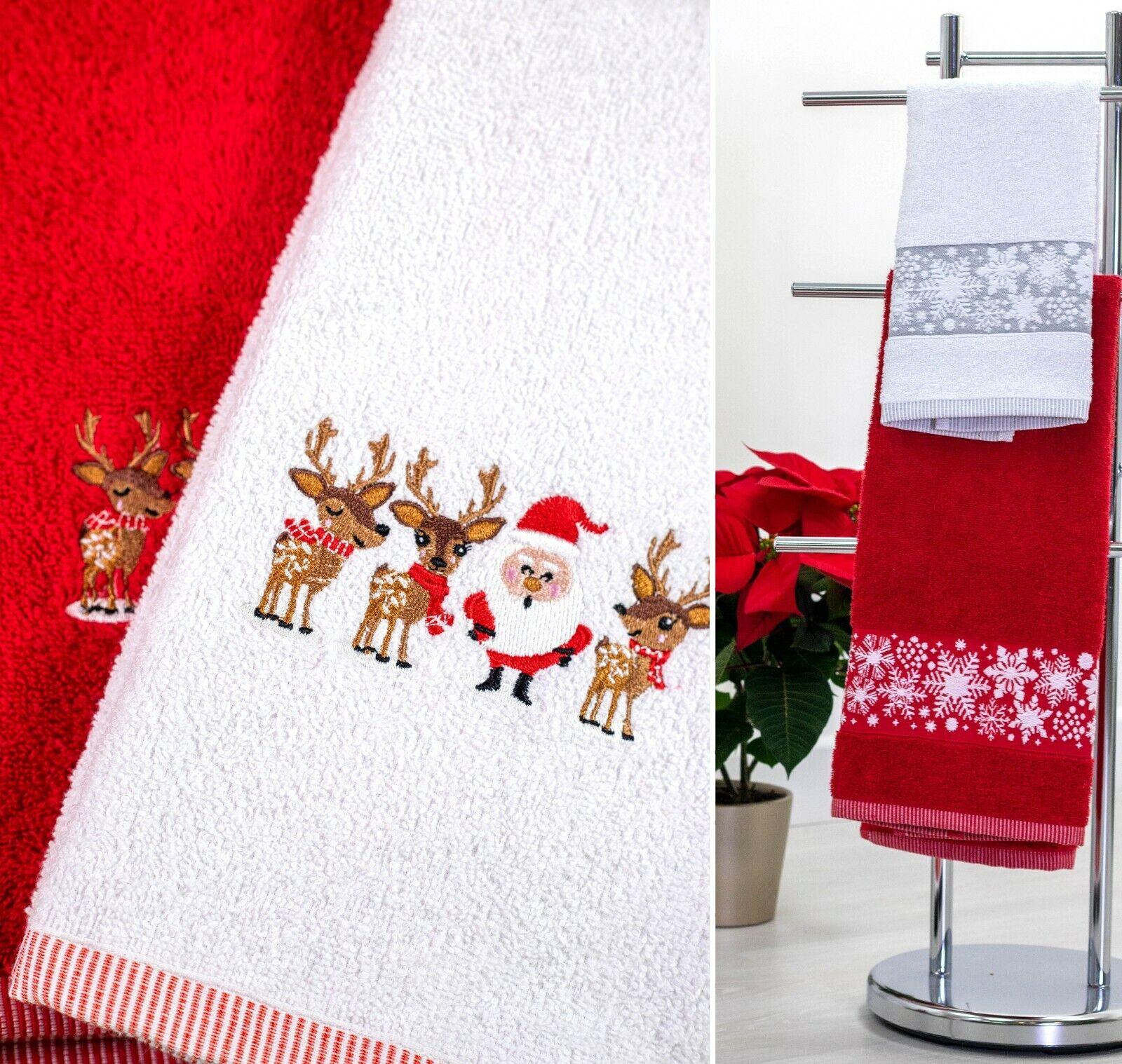 Christmas Hand Guest Kitchen Towel Set 100 Cotton Luxury Embroidered Design Ebay