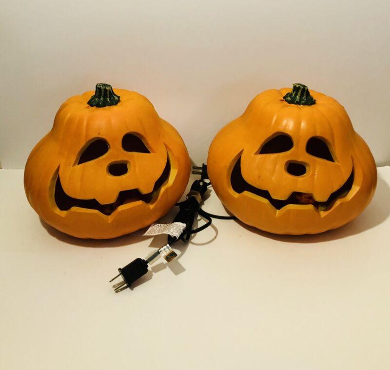Set Of 2 Lighted Halloween Pumpkin Jack O Lantern Decorations Foam Mold