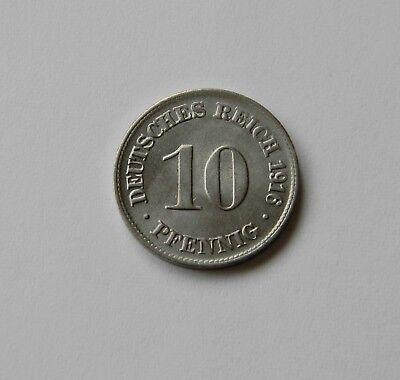 KAISERREICH: 10 Pfennig 1916 D, J. 13, fast stempelglanz !!!   II.