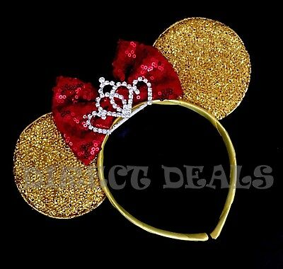 Minnie Mouse Ears Tiara Gold Yellow Sequin Red Bow Beauty And The Beast Belle Gold Sequin Tiara