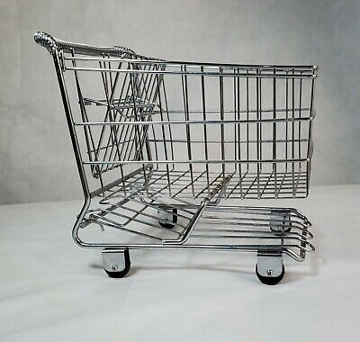 Vintage Metal Small Grocery Shopping Cart Decor 10.5 Tall Doll Fruit Planter