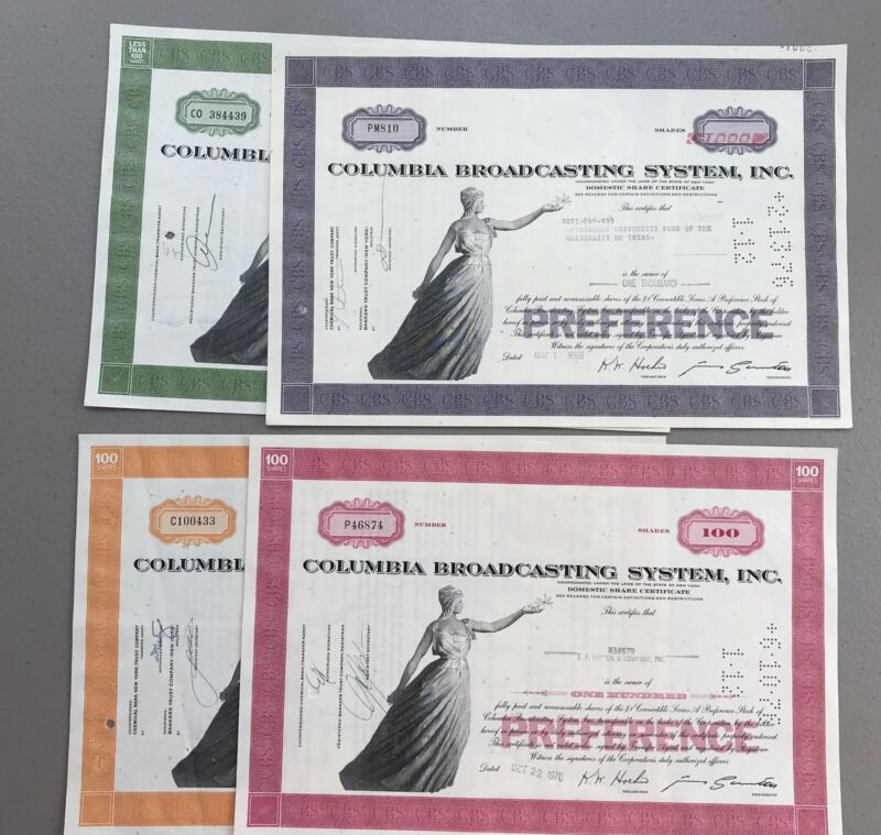 Lot of 4 CBS Inc. Stock Certificates - 1968-1971 Columbia Broadcasting System