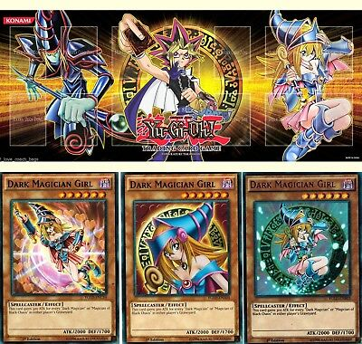 Dark Magician Girl 3_DIFFERENT ART WORKS mint set + Playmat Mouse Pad Mat yugioh - Girl Art Mouse Pad